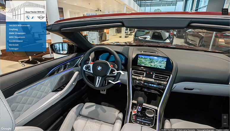 Virtueller 360° Rundgang Garage & Autohandel
